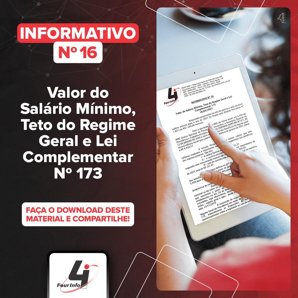 Informativo 16 - Valor do Salário Mínimo, Teto do Regime Geral e Lei Complementar 173